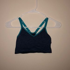 Navy blue and teal seamless sports bra